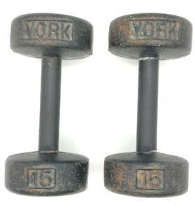 Pair of Vintage York 15lb Roundhead Dumbells - 30 LBS Total