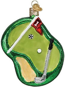 Golf Putting Green Ornament Old World Christmas New Blown Glass Glitter Accents