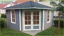5-Eck Gartenhaus Blockhaus mit ISO, 4x4M 5-Eckige aus Holz, 40mm, Gerda 40008