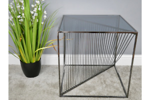 53cm Black Square Electro-Plated Metal Tempered Glass Side Table