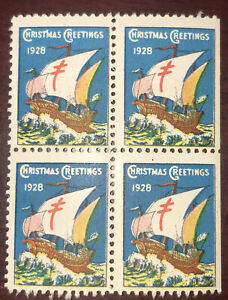Canada Christmas Seal 1928 Block Of 4 MNH