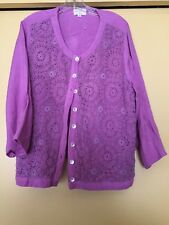 NEW Blu Pepper Pink Button Down Jacket/Blouse Crochet Front, Size 3XL Plus NWOT