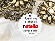 10 White Gift Tags Wedding Favour Bomboniere Personalised Spread Love Nutella V4
