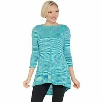 Susan Graver Size 1X Turquoise Cotton Rayon Space Dye Lightweight Knit Top