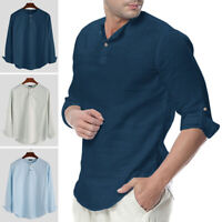 Men's Linen Long Sleeve Shirt Loose Casual Breathable Shirts V-Neck Top T Shirt