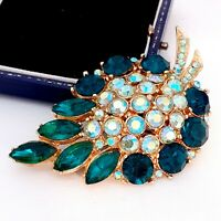 Vintage - Large Unsigned SPHINX Green & AB Crystal Statement Brooch Pin
