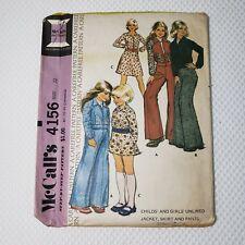 Vintage 70s McCalls 4156 Size 12 Girls Jacket Skirt Pants Hippy Bell Bottom