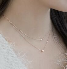 Halskette,Anhänger,925 Silber,Roségold, Doppelkette,Perle,Herz,gebürstet, NEU