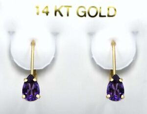 GENUINE 1.14 Cts AMETHYST DANGLING EARRINGS 14K GOLD *Free Certificate Appraisal