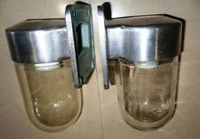 RARE VINTAGE MARINE ALUMINIUM Wall PASSAGE LIGHT with CLEAR Glass - SET OF 2 PC