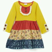 Tutu & Lulu Mustard Yellow Red Lace-Accent Ruffle Dress 6/7 Boutique NWOT 5t