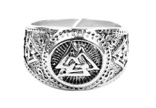 Viking Ring Valknut Rune Norse Nordic Triquetra Celtic Knot Silver Adjustable