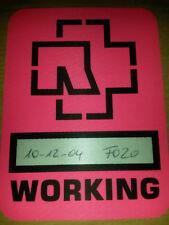 Rammstein Tour AAA Working Pass VIP Ticket Karte (sehr selten) 10.12.2004 Pink
