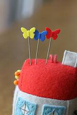 40 Butterfly Flat Head Sewing Pins 54mm Long Quilting Dressmaking Serging VAT