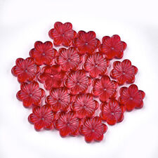10 Glass Flower Beads Red Floral Jewelry Supplies Electroplated 14mm