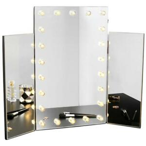 Hollywood Dressing Tri Fold Mirror Beauty Table Vanity Makeup Cosmetic LED Light