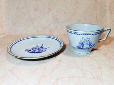 Spode Trade Winds Blue Cup and Saucer London Free Shipping