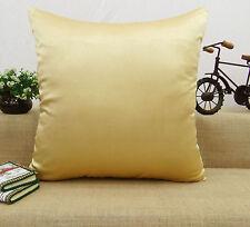 Decorative Satin Silk Cushion Pillow Throw Home Decor Solid Cover - Choose Size