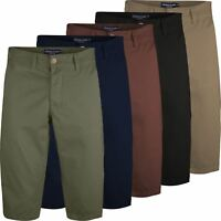 Mens Charles Casual Knee Length Long 3/4 Chino Shorts Bottoms Cotton Pants