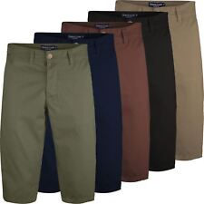 Mens Charles Casual Knee Length Long 3/4 Chino Shorts Bottoms Cotton Pants