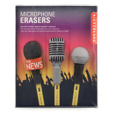 Kikkerland Microphone Erasers - Set of 3 School Pencil Topper Rubbers