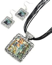ABALONE & SILVER  SQUARE  NECKLACE SET -  BLACK CORD NECKLACE- DESIGNER INSPIRED