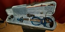 Metallic Blue Silent Electric Violin Cecilio HVPV-30 Case And Bow