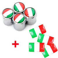 Italian Flag x4 Dust Caps & Stickers Italy Logo Valve Badges Fiat 500 Alfa Romeo
