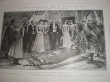 Prince George of Wales in India shows his tiger kill after banquet Jaipur 1905