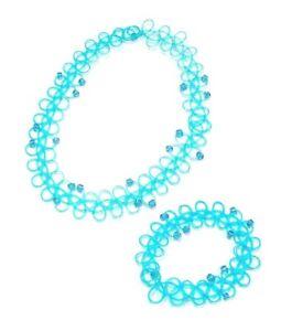 Turquoise Elastic Stretch Choker Necklace Bracelet Set Tattoo Women Girls Dress