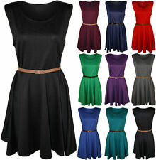 Scoop Neck Party Patternless Skater Dresses for Women