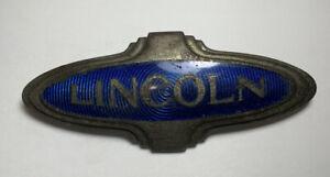 Vtg Lincoln K Series Emblem Badge Blue Antique Hubcap