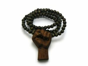 MENS WOOD BLACK POWER TO THE PEOPLE RAISED CLENCHED FIST  BALL BEAD NECKLACE