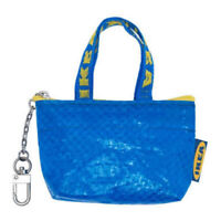 NEW IKEA KNÖLIG Bag Small Keychain Zipper Coin Bag Key Ring Blue Frakta Rare