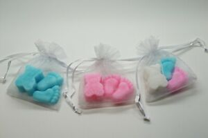 Baby Shower SOAP Favours TEDDY & TINY FEET Guest Gift Boy Girl Organza Bag