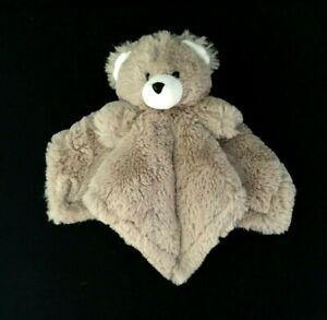 Tan White TEDDY BEAR Baby Security Blanket Lovey FLUFFY SUPER SOFT RN 118620
