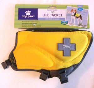 Neoprene Dog Life Jacket - TOP PAW - Sz Small 15 - 30 lbs - Yellow