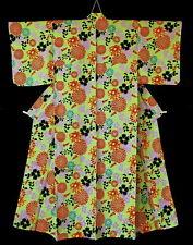 Japanese Yukata Kimono Robe Green Cotton Linen Mix Floral T209