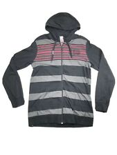 Metal Mulisha Mens Size L Hoodie Hooded Sweatshirt Full Zip Black Striped