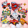 Engineering Truck Train Police Car Shape Foil Balloons Kids Birthday Party Decor
