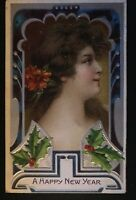 ~Beautiful~Pretty Victorian Lady ~Antique Art Nouveau~ New Year Postcard--s171