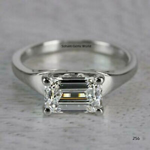 2.15 Ct East West Emerald Cut Moissanite Engagement Ring Solid 14k White Gold