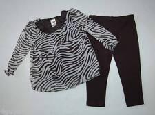 Toddler GIRLS ZEBRA STRIPE Smock Shirt & Black Leggings 12 Months