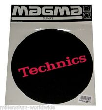 "SEALED,- TECHNICS - TURNTABLE DJ SLIPMATS - PAIR ""HOT PINK LOGO ON BLACK"" DESIGN"