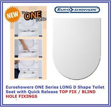 Euroshowers ONE SEAT LONG D SHAPE Toilet Seat TOP FIX BLIND HOLE QUICK RELEASE