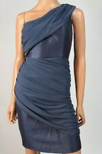 $158 Max and Cleo Blue Ruched Chiffon Hammered Satin Sheath Dress 0 NWT M284