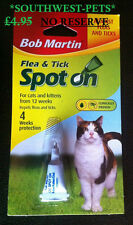 BOB MARTIN CAT FLEA/TICK DROPS SPOT ON TREATMENT, Cat Flea Treatment, Free post