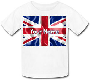UNION JACK GB FLAG PERSONALISED KIDS T-SHIRT -GREAT GIFT FOR ANY CHILD & NAMED