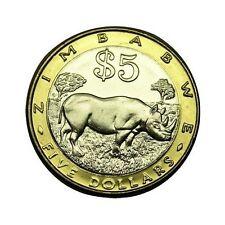elf Zimbabwe 5 Dollars 2001  Bimetallic  Rhino