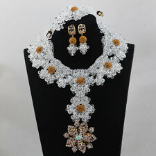 Crystal White with Gold Balls Beads Bridal Wedding Jewelry Party Necklace Set